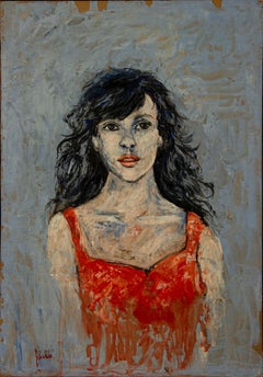 Woman in Red - Original Oil Painting - Late 20th Century