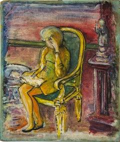 Woman Thinking - Original Mixed Media Painting - Mid-20th Century
