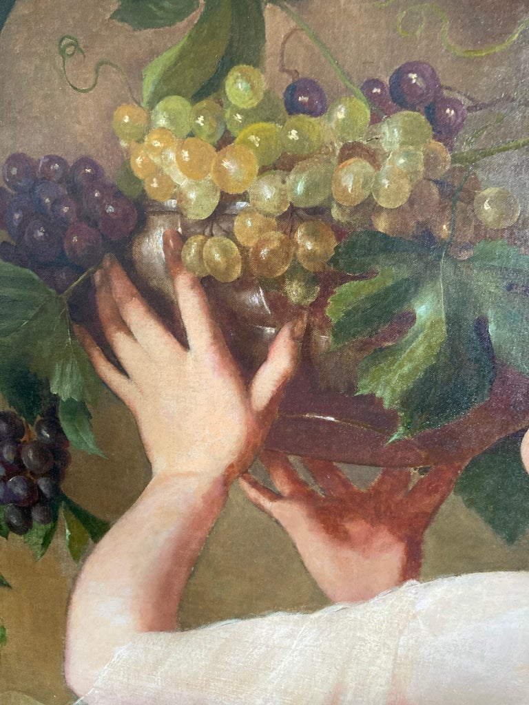 Woman With Grapes (ex. Mobile Museum of Art) - Brown Portrait Painting by Unknown