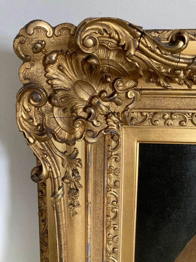 Ex. Mobile Museum of Art. The ornate gold leaf and gesso 19th-century frame on this painting is spectacular. This painting was listed by a reputable auction house as 19th-century and