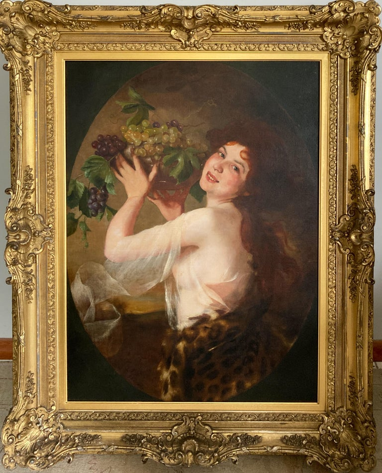 Unknown Portrait Painting - Woman With Grapes (ex. Mobile Museum of Art)