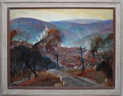 Antique American Regionalist WPA Cityscape Signed Oil Painting