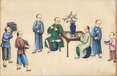 Writers with Waiters - Pair of Mixed Media on Paper by Chinese Master Early 1900