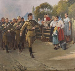 XX Century Russian School The Parade Crowd Military Oil on Canvas Yellow Brown