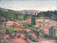 XX century Spanish school oil on burlap painting landscape