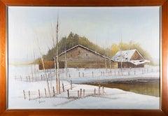 Y. Simon - Signed & Framed Mid 20th Century Oil, Snowy Barn