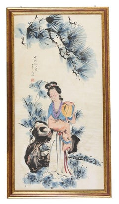Yang Guifei in the Garden - Original Mixed Media by Chinese Master Early 1900