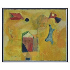 Yellow Abstract Surrealist Field Painting