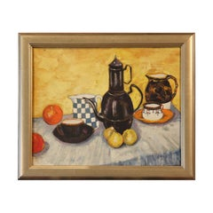 Yellow and Blue Toned Early Texas Still Life Painting of Fruits and Vases