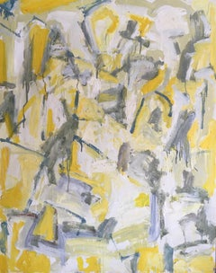 Yellow and Grey Abstract Huge Oil Painting