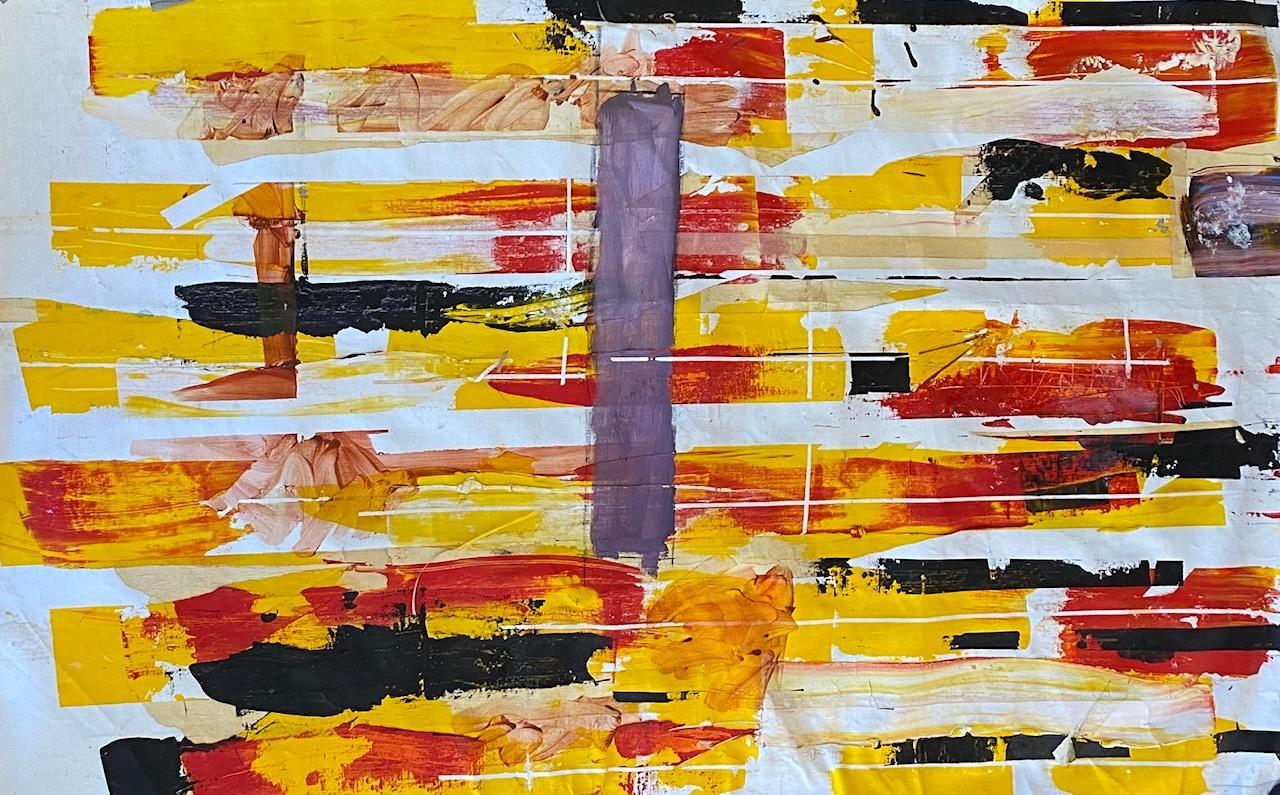 """""""Yellow Black and Red"""" oil and wax on canvas by Steven"""