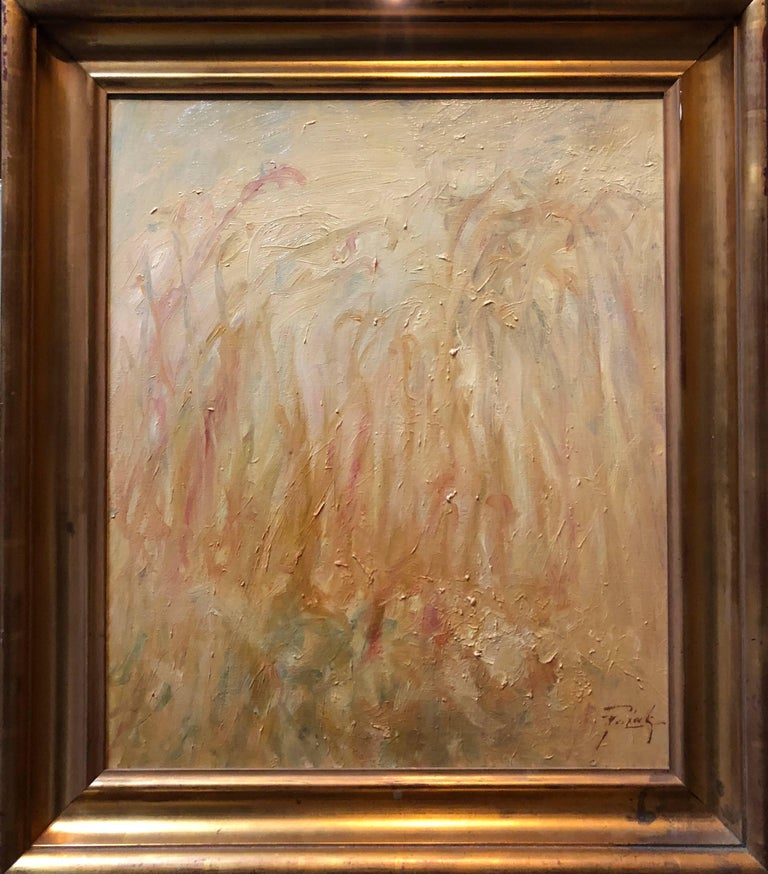 YELLOW FIELD , Color field Abstract Gold Landscape Oil Painting - Beige Abstract Painting by Unknown