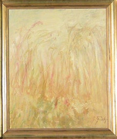YELLOW FIELD , Color field Abstract Gold Landscape Oil Painting