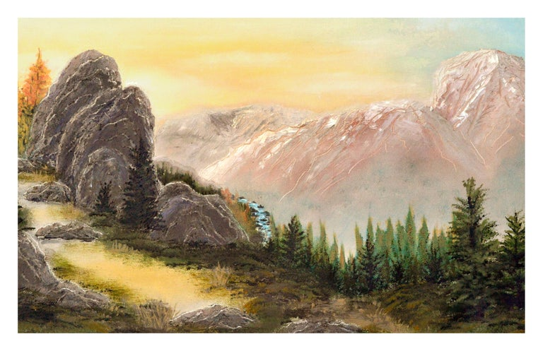 Yosemite High Sierra Sunrise - Midcentury Landscape  - Painting by Unknown