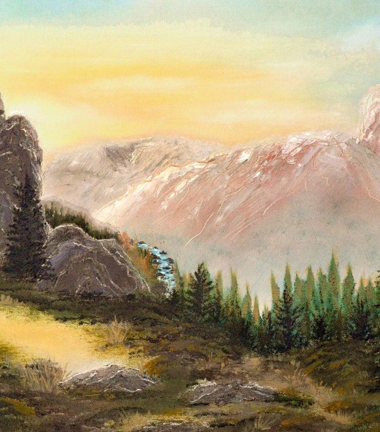 Yosemite High Sierra Sunrise - Midcentury Landscape  - Beige Landscape Painting by Unknown