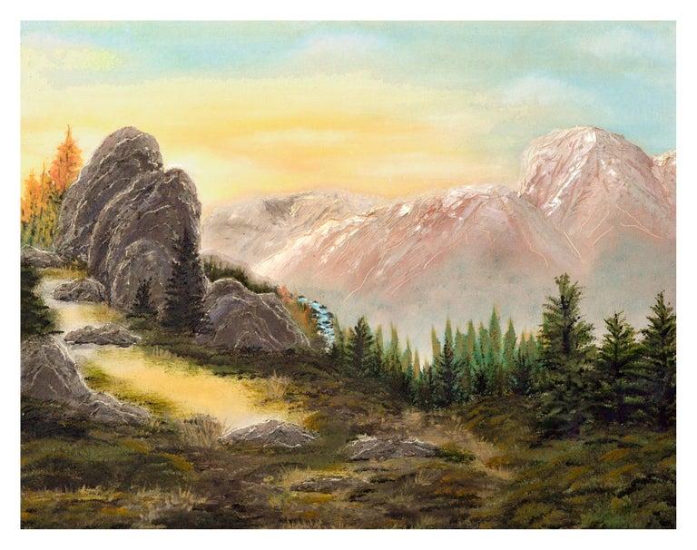 Unknown Landscape Painting - Yosemite High Sierra Sunrise - Midcentury Landscape
