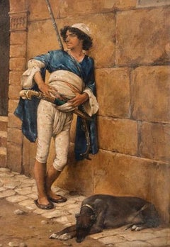 Young Arab Soldier with Dog - Oil on Board Early 20th Century