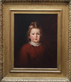 Young Girl - Scottish art 19th century oil painting female portrait red dress