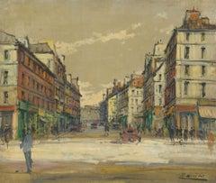 Zanini - Mid 20th Century Oil, Paris Street Scene
