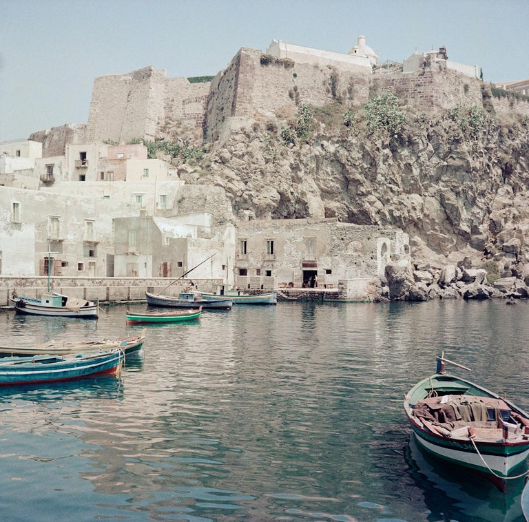 View of Lipari circa 1960  unknown photographer / Alinari Archives, Italy   Beautiful and giant Archival Pigment print of this gloriously summery and calm Italian scene. Produced on heavy Hahanemühle art photo paper.  40x40 in / 101 x 101 cm paper