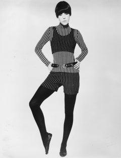 70s Fashion: Model in Pinstripes Vintage Original Photograph