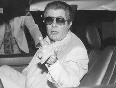 Actor Marcello Mastroianni in Rome - Vintage b/w Photograph - 1987