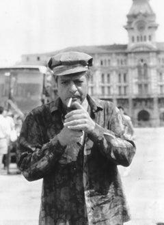 Actor Marcello Mastroianni - Vintage b/w Photograph - 1985