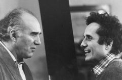 Actor Michel Piccoli and Marco Bellocchio - Vintage b/w Photograph - 1982