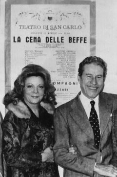 Actors Amedeo Nazzari and Marcella Pobbe - Vintage b/w Photograph - 1973