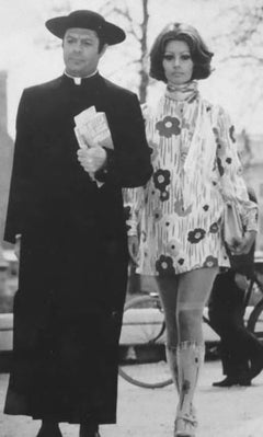 Actors Marcello Mastroianni and Sophia Loren - Vintage b/w Photograph - 1971