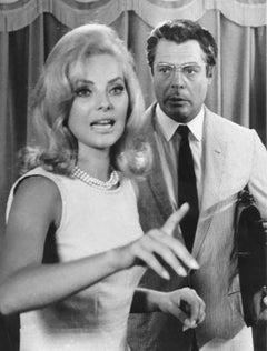 Actors Marcello Mastroianni and Virna Lisi - Vintage b/w Photo - 1960s