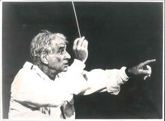 American Conductor Leonard Bernstein - Vintage b/w photograph - 1980s