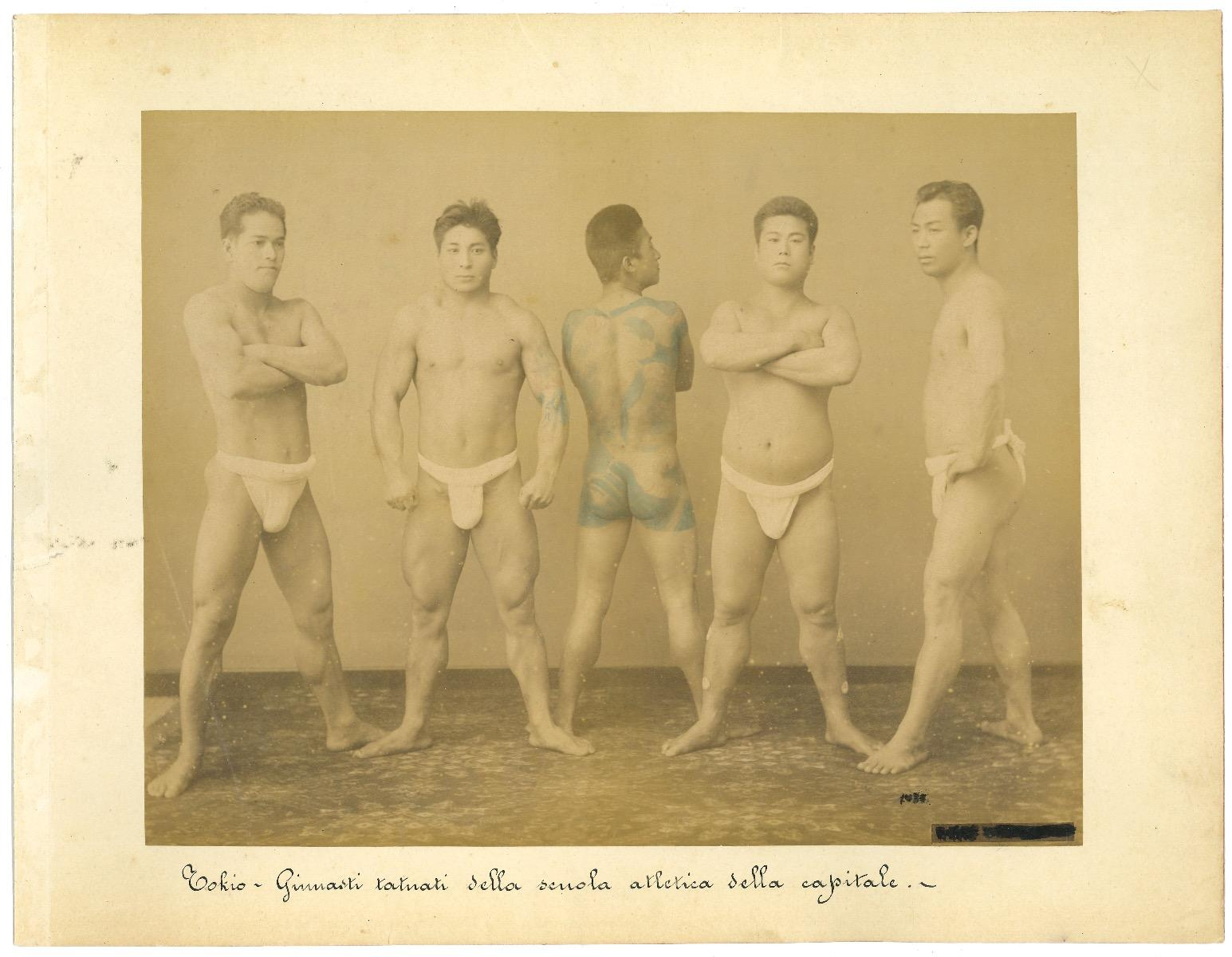 Ancient Portrait of Japanese Gymnasts - Original Albumen Print - 1880s/90s