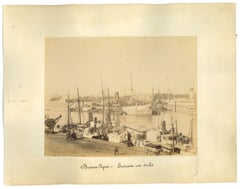 Ancient View of the Port of Buenos Aires - Original Vintage Photo - 1880s