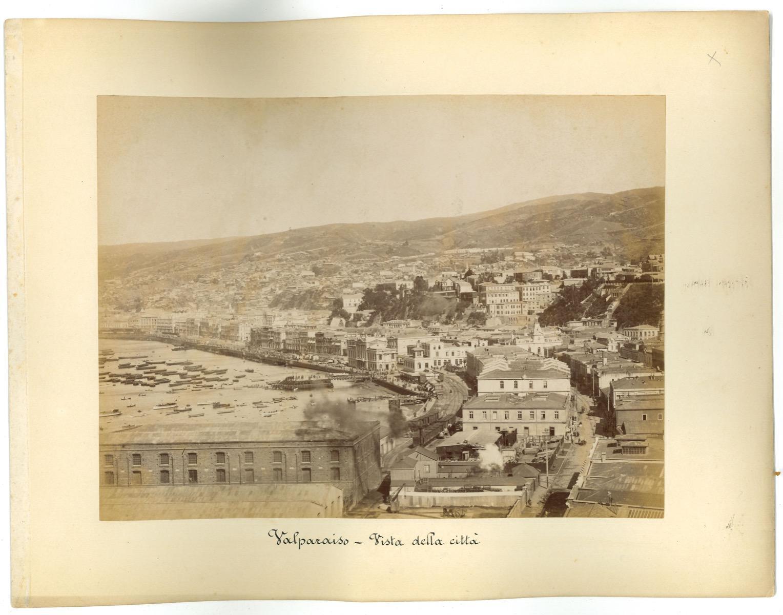 Ancient View of Valparaiso Chile - Original Vintage Photos - 1880s