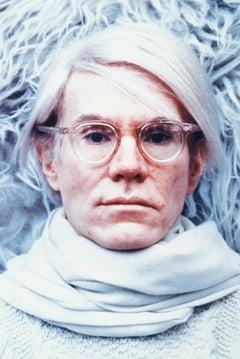 Andy Warhol on White Globe Photos Fine Art Print