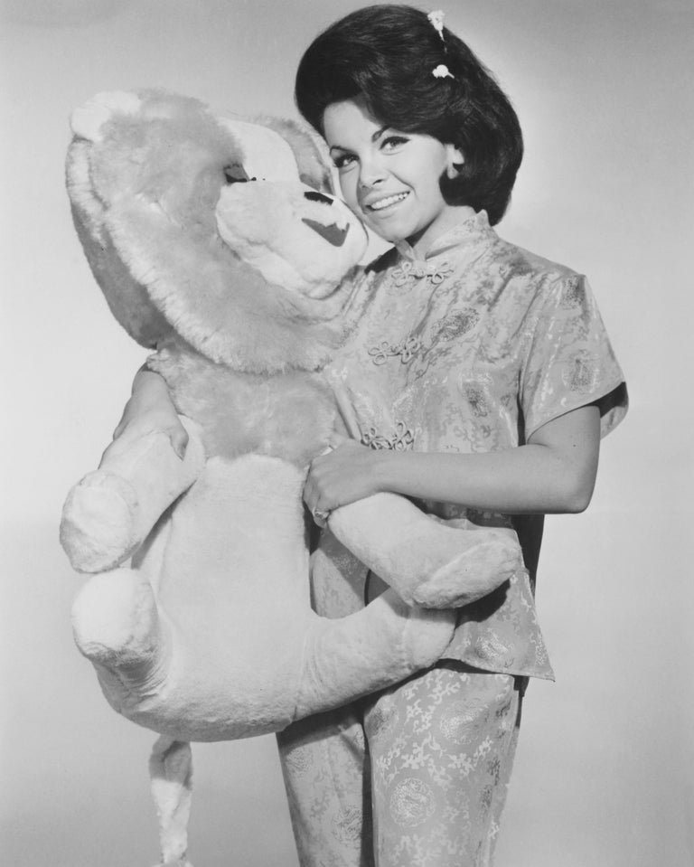 Unknown Black and White Photograph - Anette Funicello Mouseketeer with Stuffed Lion Fine Art Print