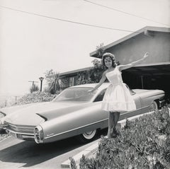 Anette Funicello Waving with Classic Cadillac Fine Art Print