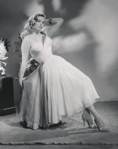 Anita Ekberg Leaning in White Dress Fine Art Print