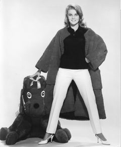 Ann Margaret Smiling with Plush Dog Vintage Original Photograph