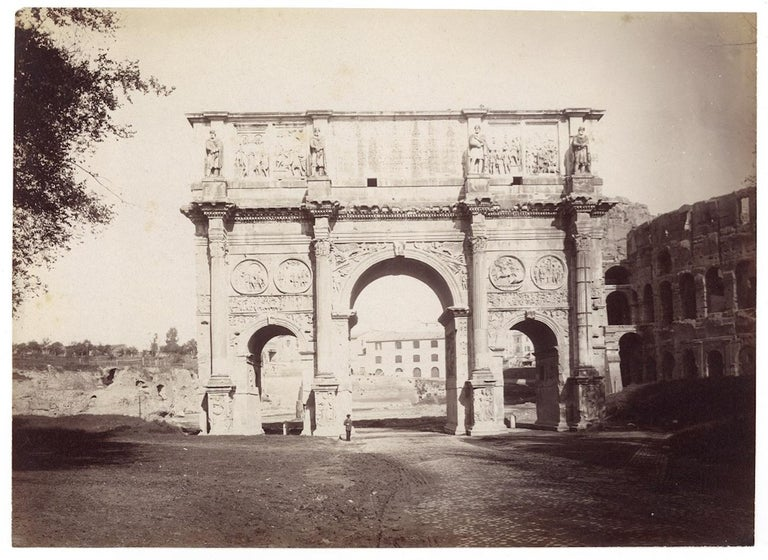 Arch of Costantine in 1870 is a superb albumen print made by a professional unknown photographer around 1870 in Rome.  Print in excellent condition, impressive sharpness and realized by contact of full plate negative, probably printed with Crozat