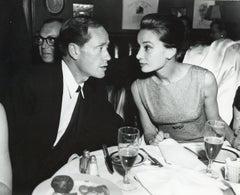 Audrey Hepburn and Mel Ferrer Candid at Dinner Event Vintage Original Photograph