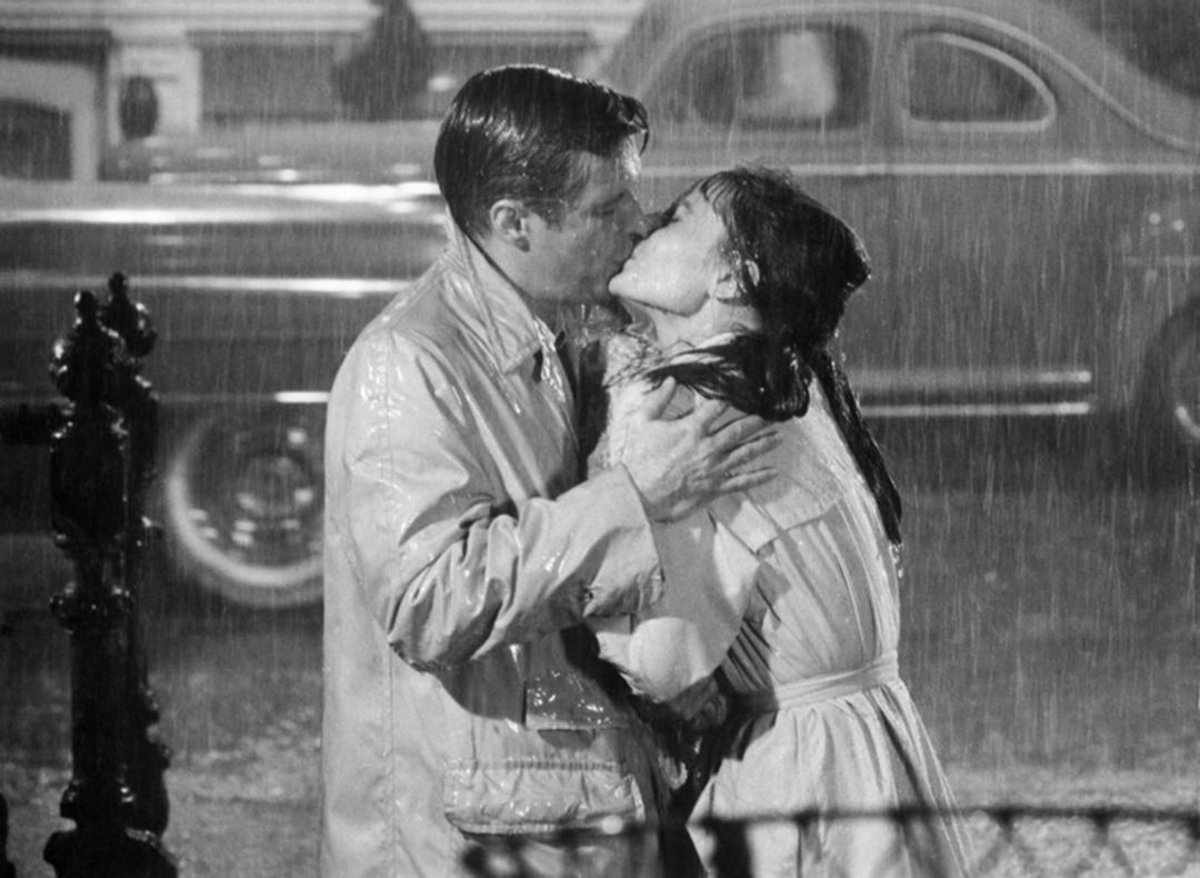 Audrey Hepburn George Peppard Kiss In The Rain 1961  - Archival Pigment print