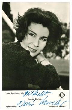 Autograph Portrait of Doris Kirchner - Vintage b/w Postcard - 1960s