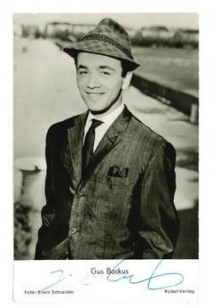 Autograph Portrait of Gus Backus - Vintage b/w Postcard - 1960s