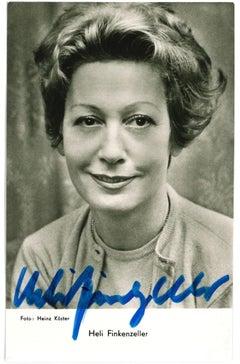 Autograph Portrait of Heli Finkenzeller - Vintage b/w Postcard - 1960s