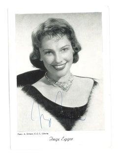 Autograph portrait of Inge Egger - Vintage b/w Postcard - 1950s