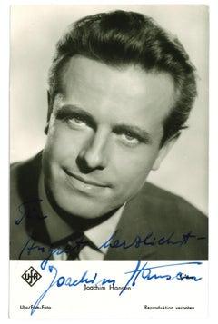 Autograph Portrait of Joachim Hansen - Vintage b/w Postcard - 1960s