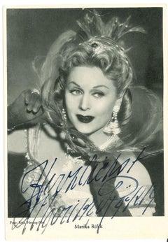 Autograph Portrait of Marika Rökk - Vintage b/w Postcard - 1960s