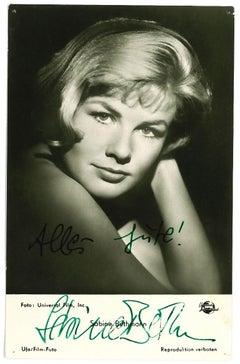 Autograph Portrait of Sabine Bethmann - Vintage b/w Postcard - 1950s